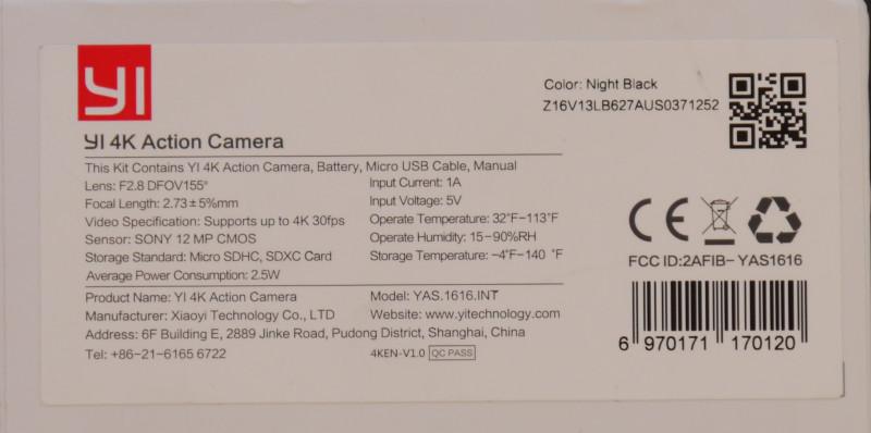 Xiaomi Yi 4K Дизайн устройства и комплектация